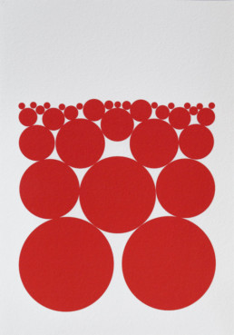 Graphic work made with red full circles